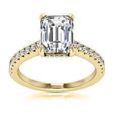 Solitaire Pave 3.10 Carat VVS2 Emerald Cut Diamond Engagement Ring Yellow Gold