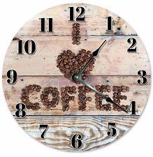 "I LOVE COFFEE Wood Clock - Large 10.5"" Wall Clock - 2051"