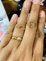 "18 Japan Gold Heart Diamond Ring 7"""