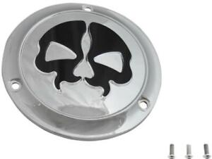 Drag Specialties Split Skull Derby Cover Chrome w/ Black Skull