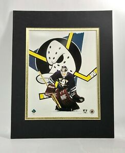Anaheim Mighty Ducks Hockey 1995 Goalie MATTED 11X14 Lithograph by Kelly Russell
