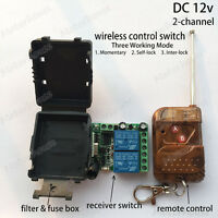 DC 12v 2ch Wireless RF Remote Control relay Switch on off Transmitter Receiver