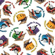 Fat Quarter Thomas The Tank Engine Color Express White Cotton Quilting Fabric