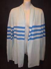 Talbots 100% Cashmere Aqua Blue Stripe Open Drape Front Cardigan M