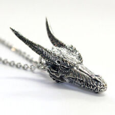 Cool Mens Boys Vintage Gothic Rock Dragon Head Pendant Necklace Biker Jewelry