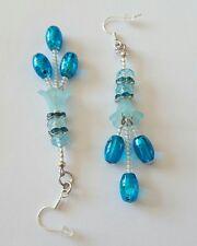 New Handmade Turquoise Lucite Flower Oval Drawbench Beaded Dangle Drop Earrings.