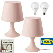 "2 Ikea LAMPAN Table lamp light pink 11"" 803.990.67 BRAND NEW 2 lamp and (2 bulb)"