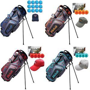 Volvik Golf Vivid Stand Carry Bag Dual Strap 7 Way 4 Colors + 12 Balls & Hat NEW