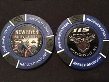 "Harley Golf Ball Marker Poker Chip (Blue/Black) ""New River"" 115 ANNIVERSARY"
