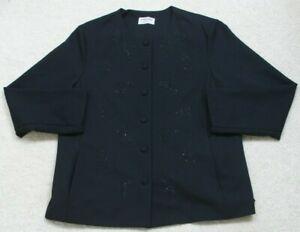 Alfred Dunner Navy Blue Dress Jacket Coat Woman's Button Front Size 18 Eighteen