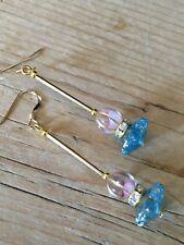 + rhinestone rolled gold earrings Art Deco vintage style czech glass