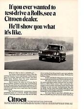 1970 CITROEN  ~  TEST DRIVE A ROLLS  ~  CLASSIC ORIGINAL PRINT AD