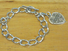 Silver-Tone Vintage Style Heart Charm Chain Bracelet w/Toggle Clasp 7""