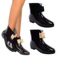 Mujeres Moño Wellington Botas A Tobillo Botas De Agua Lluvia Nieve - Negro O