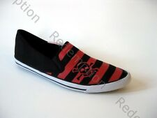 *Cute Draven Black/Red Striped Skull Crossbones Hipster Pointed Flats Punk 8
