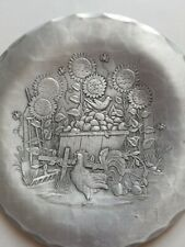 The Forge vtg Rooster Sunflowers Frankenmuth Hand Hammered Aluminum Plate 5.5""