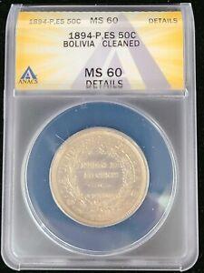 1894 PTS ES Bolivia Silver 50 Centavos 1/2 Boliviano coin ANACS MS60 UNC Details