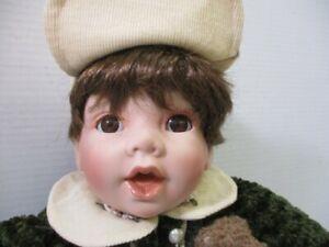 Swan Collection Porcelain Boy Doll With Teddy Bear