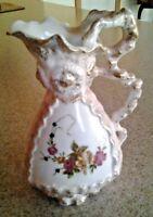 """Vintage Bond Ware L&M Hand Painted Porcelain Ornate Floral Pitcher Vase 6""""-Japan"""