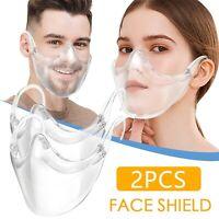 2 Pcs Masque Protection Lavable Réutilisable Durable Transparent Clair Neuf