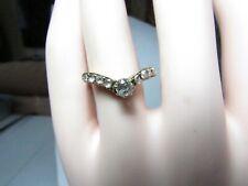14K ROSE GOLD VICTORIAN CHEVRON RING W/ MINE CUT & ROSE CUT NATURAL DIAMONDS