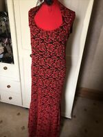 DEFINITIONS Ladies Vibrant Red Black Lace Floral Sleeveless Long Dress Size 16