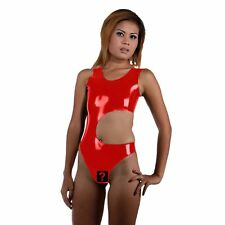Red Latex Rubber Catsuit with open waist and crotch (one size)