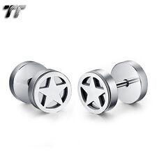 Fake Ear Plug Earrings (Be209S) New Tt 8mm Silver Stainless Steel Star