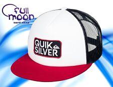 New Quiksilver Barstay White Red Black Mens Trucker Snapback Hat Cap
