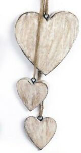 Hanging Wooden Cluster Hearts Wall Decor Shabby Chic Light Wood 40cm Long