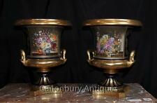 Pair French Sevres Porcelain Floral Campana Urns Vases Planters