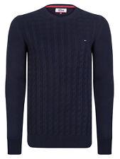 Tommy Hilfiger Denim Hombre jersey de algodón diseño trenzas gris - azul marino