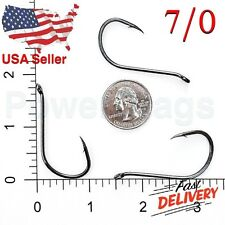 100 Size 7/0 Offset Octopus Fishing Hooks Black Chemically Sharpened hook USA