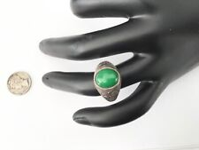 Antique Chinese Export 100% Silver Apple Green Jade Men's Ring! Size 10.25