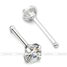 1x Surgical Steel Large 3MM Clear CZ Gemstone Prong Nose Stud Bone 20G Bar Ring