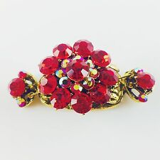 USA Hair Claw Clip Hairpin Rhinestone Crystal Vintage Barrette Simple Red A29