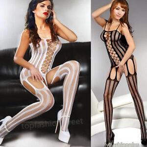 Sexy lingerie fishnet crotchless full body stocking bodysuit nightwear underwear