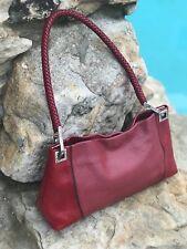 Brighton Leather Purse Handbag Lipstick RED Burgundy braided handle Vintage rare