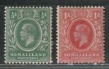 1912 British colony stamps, Somaliland, KGV 1/2a & 1a, MH SC 51-2