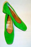 Vintage 1960s Mijji Vibrant Green Suede Charles Sumner Pumps Heels WMs 8N NEW