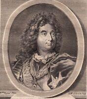 Portrait XVIIIe Louis Hector de Villars Maréchal Bataille Denain Höchstädt