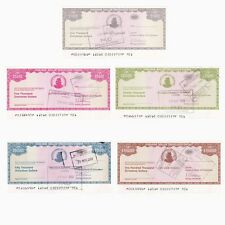 Set of 5 Zimbabwe Emergency Dollar Traveller's Cheques unsigned - UNC.
