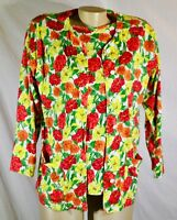 LIZ & CO White/Red/Yellow/Orange Floral Print Twinset Top & Jacket XS Unlined
