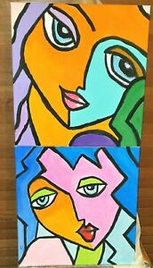 """Abstract Girls"" Pair Of Original Paintings- De Martino Art"