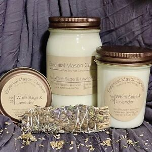 Highly Scented Soy Wax Candle - Hand Poured - White Sage & Lavender