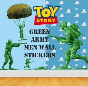 12 Green Army Men - Boys /girls Room Wall / Car Stickers  Large - Cut to shape