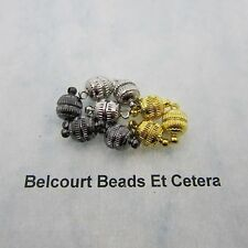 60 Magnetic Clasps 8x14mm 3 Colors Antique Silver, Black and Gold Plated