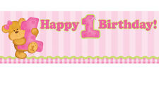 BEAR'S 1st BIRTHDAY GIRL GIANT BANNER ~ First Party Supplies Hanging Decorations