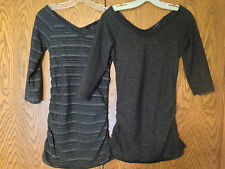 EXPRESS Deep V Neck Shirts Ruched Black Charcoal Metallic Stripe Size S LOT OF 2