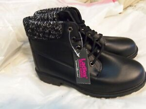 NWT Women's Bobbie Brooks Must Haves Ankle Boots Black Lace Up Size 7